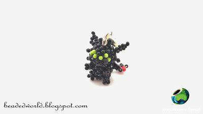 Koralikowy Świat - szczerbatek z koralików, smok z koralików