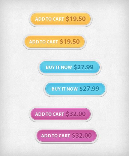 """add-to-cart-psd    Today's web design resource is a collection of """"Add to cart"""" and """"Buy it now"""" buttons that you can use in your next e-commerce web site. The buttons come in 3 different colors, with normal and hover states. They are all shapes so you can resize them as you like from the PSD file, and also change the prices and colors."""