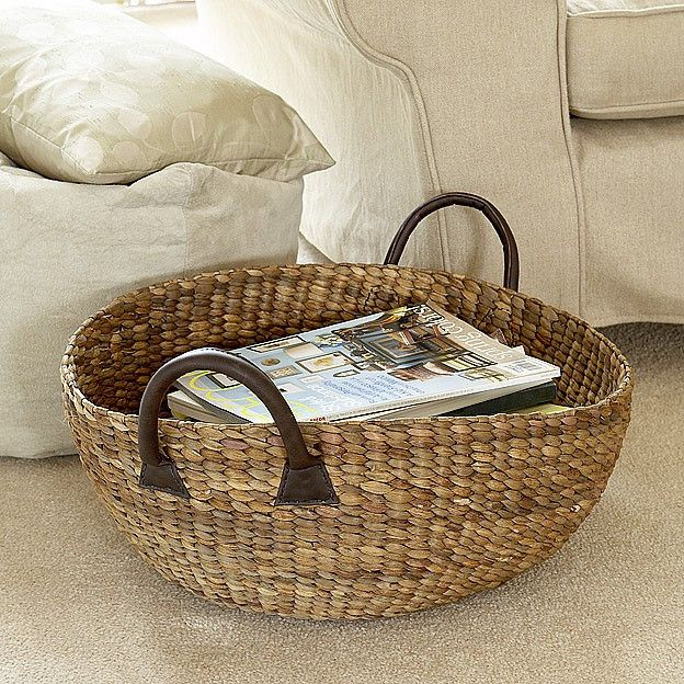 Three sizes of chunky handmade weave round baskets; an ideal home storage solution.