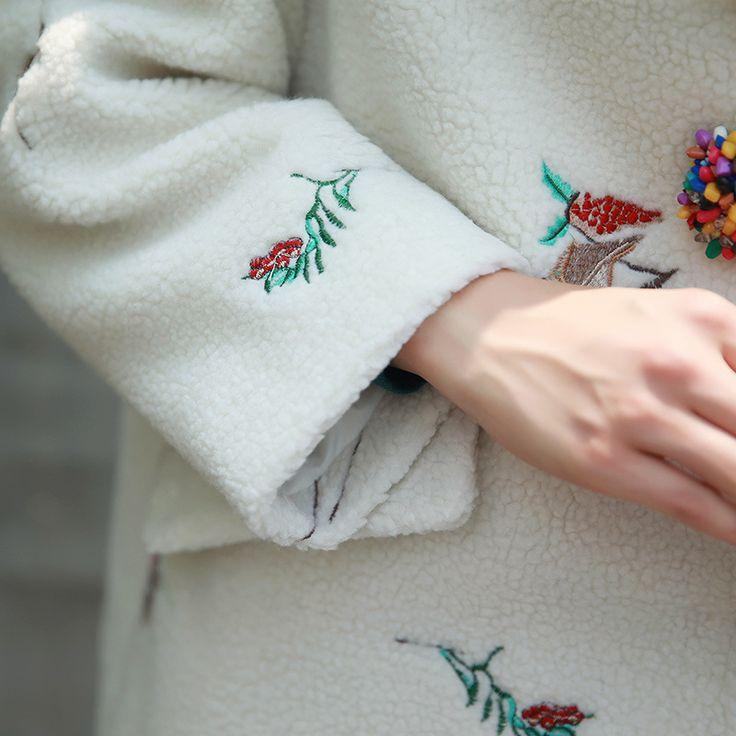 2017 Новая Мода Корейский Стиль Женщины Вышивка Пальто С Отложным Воротником Женский Пальто Белое Длинное Пальто Женщин Casaco Женщина Для