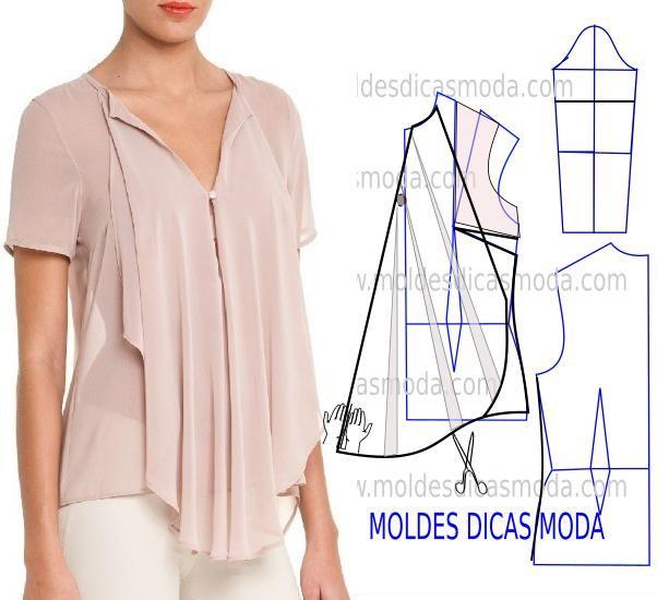A proposta de hoje recaiu no molde blusa rosa que uma seguidora sugeriu há algum tempo mas só agora foi possível fazer. Analise com a devida atenção a tran