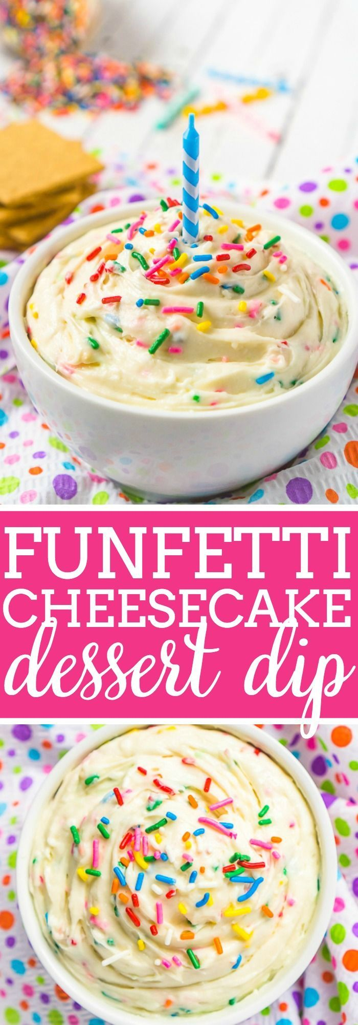 Enjoy your birthday cake in a new way with this delicious Funfetti Cheesecake Dip! Sweet and creamy, this easy funfetti cake batter dip is absolutely addicting and makes the perfect addition to any party menu!  The Love Nerds #dessertdip #cheesecakerecipe #cheesecakedip #birthdaydessert via @lovenerdmaggie