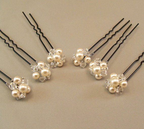 Wedding Hair Accessories, Pearl and Crystal Hairpins, Jeweled Button Hairpins, available with either ivory or white pearls