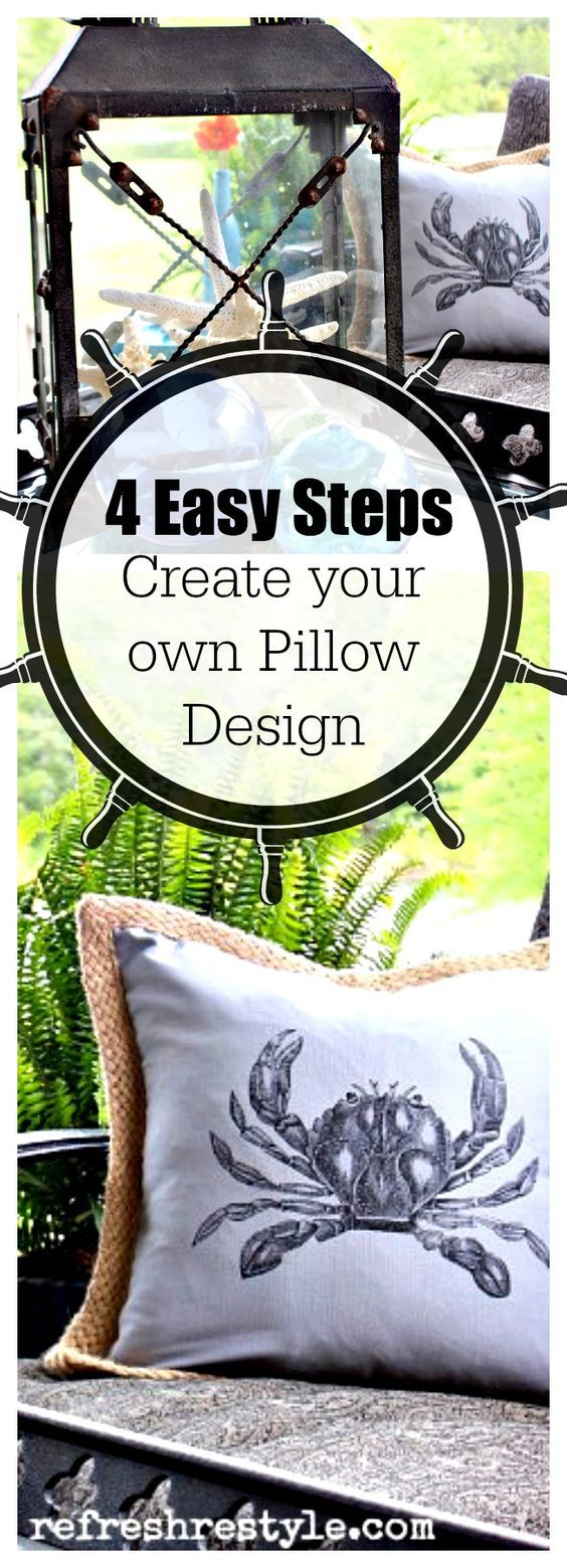 Easy DIY to create your own Pillow Graphics #diyproject #pillowcover #nosew www.refreshrestyle.com