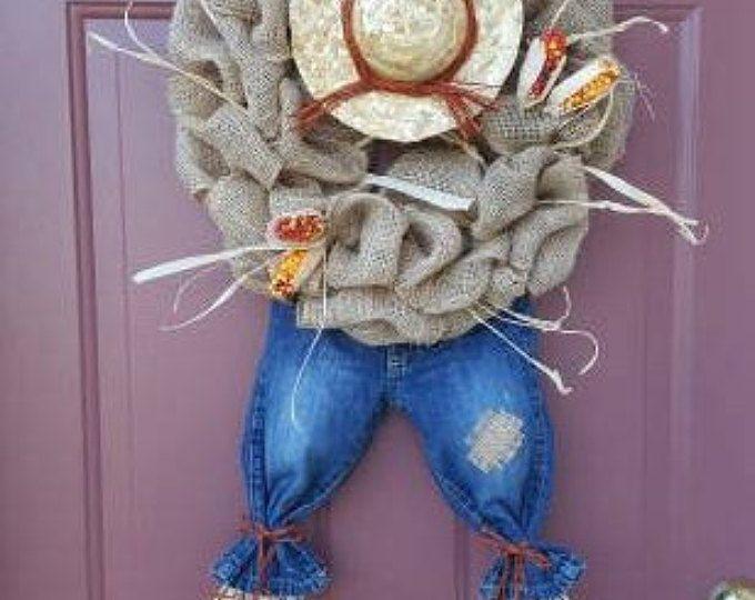 Fall wreath, Halloween, Thanksgiving Wreath, Scarecrow wreath, Burlap wreath, burlap, rustic, fall wreath,