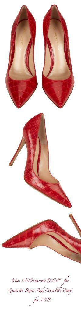 Gianvito Rossi 2015 Red Crocodile Pump   shoes 1