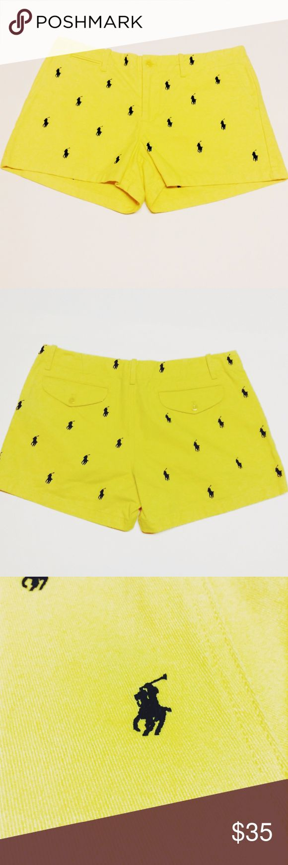 """Sale✨Polo Ralph Lauren Sport Shorts Yellow Polo Ralph Lauren Sport shorts with navy embroidered Polo logo. Soft and NWT. Size 8.  Measurements: Waist:16.5"""" Rise from center inseam to top of waist:8.75"""" Inseam:3.5"""" Polo by Ralph Lauren Shorts"""