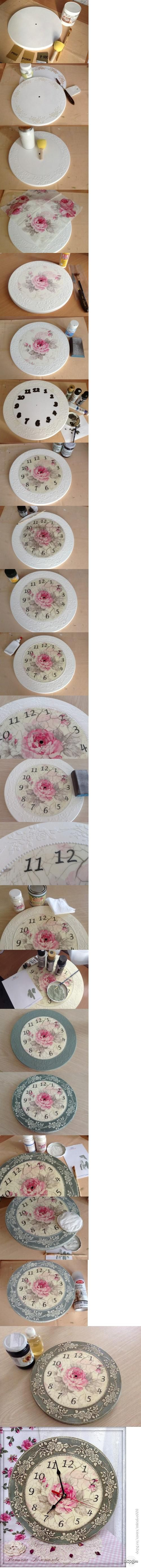 Decoupage clock, these techniques would make a pretty seat or table