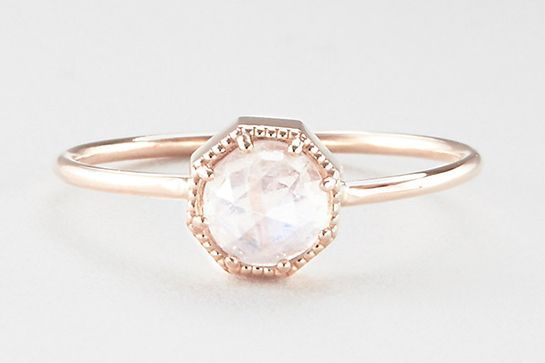 """26 Unique Engagement Rings That Will Make You Want To Say """"I Do"""" #refinery29  http://www.refinery29.com/best-summer-engagement-rings#slide-1  The glowy moonstone on this ring exudes an ethereal vibe, while its rose-gold crown bezel keeps it feeling fresh and modern. ..."""