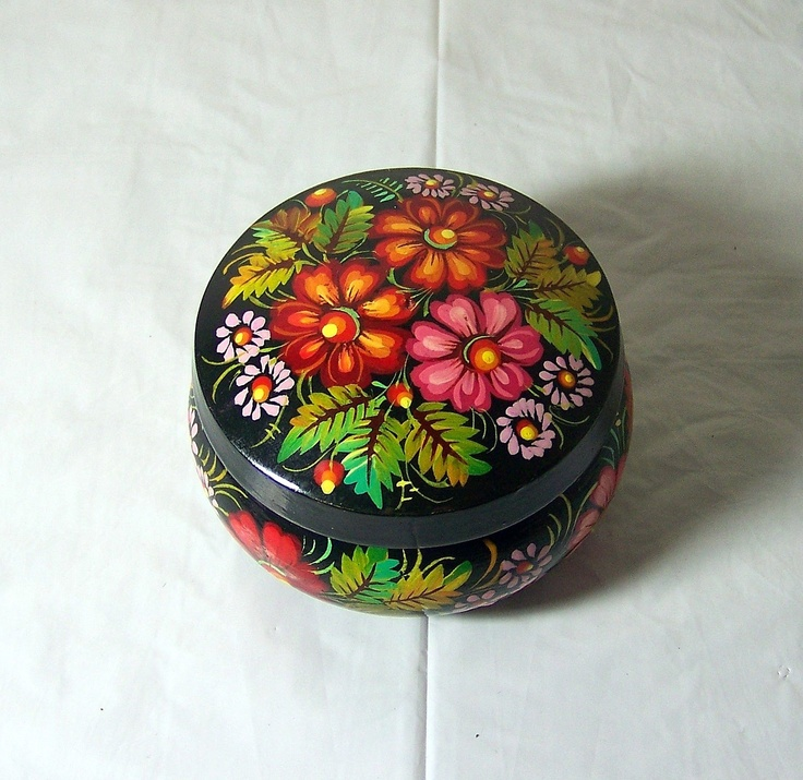 Folk Art Wooden Box Petrykivka Collection Lacquer Painted