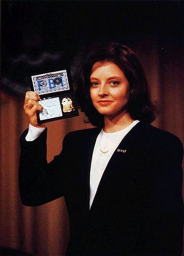 "clarice_starling-jodie_foster-fbi_badge Jodie Foster as Clarice Starling on ""The Silence of the Lambs""."