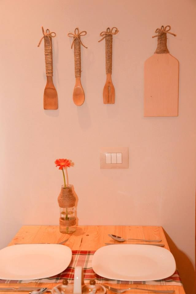table and accessories made with reclaimed wood