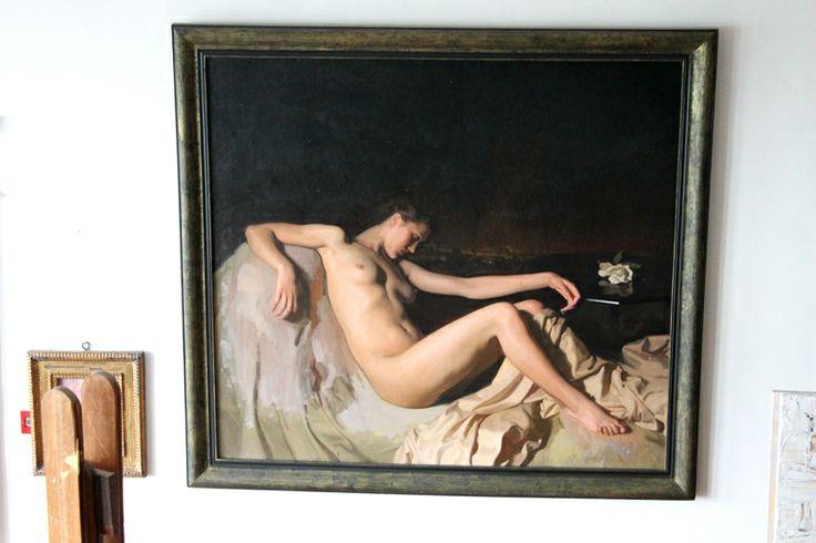 """Carmen-estudio del pintor José María Rodríguez-Acosta. Estudio de Pintura. """"La noche"""" (1941) óleo sobre lienzo. Foto: Macarena Tejero (Junio, 2013)."""