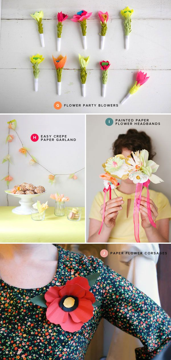 Paper Flower Crafts | Oh Happy Day! Love this blog, there are so many cute ideas on it!
