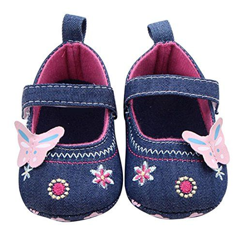 AMATM Baby Boys Girls Butterfly Soft Sole Toddler Crib Shoes 13 Blue