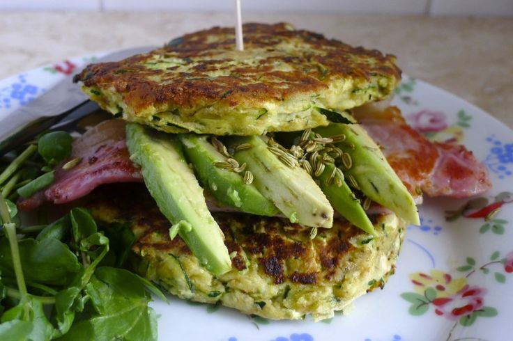 A courgette muffin filled with bacon and avocado is a fun and tasty way of eating bacon and eggs for breakfast with two portions of veg to boot.