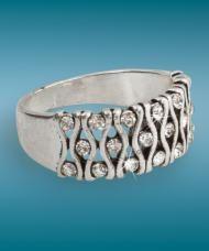 Háromsoros fehér kristályos ezüstszínű gyűrű, 19 mm