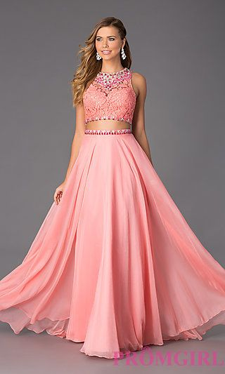Floor Length Sleeveless Two Piece Dress by Rachel Allan at PromGirl.com