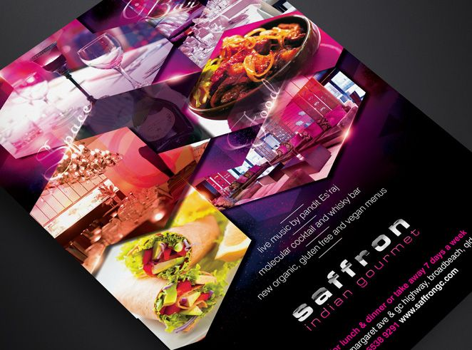 Saffron Indian Gourmet Ad by Csquared Design #indian #indianfood #poster #advert #advertising #design #posterdesign