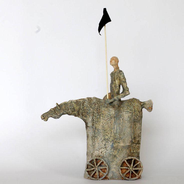 The  Rider and black flag, Ceramic Sculptures, Unique Ceramic Figurine, Unique home decor by arekszwed on Etsy
