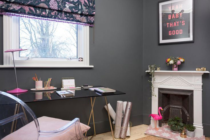 The Pink House study painted in Farrow & Ball Downpipe
