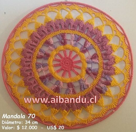 Mandala 70 .... tejido a crochet ... diametro 34