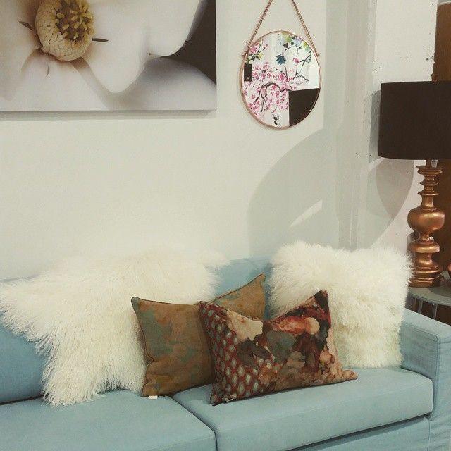 Our Verdi sofa looking plush with Tibetan Lamb cushions