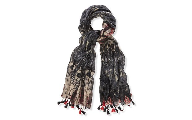 "Tassel Scarf. ""Finished with tassels this lightweight scarf will add a shot of boho styling to your look."""