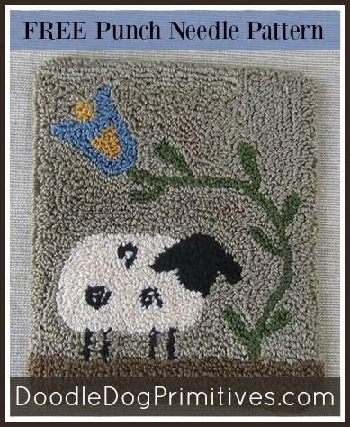 Free Sheep Punch Needle Pattern - DoodleDog Primitives ~ PunchNeedle, Needle Punch