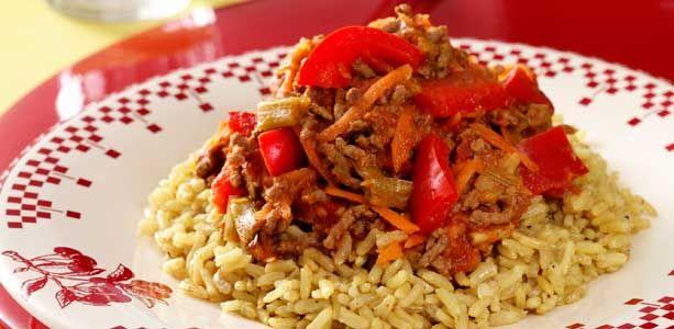 Indisk keema karry med brune ris