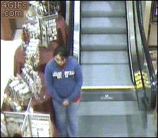 16 GIFs of People Who Are Definitely Not Using an Escalator Correctly from GifGuide