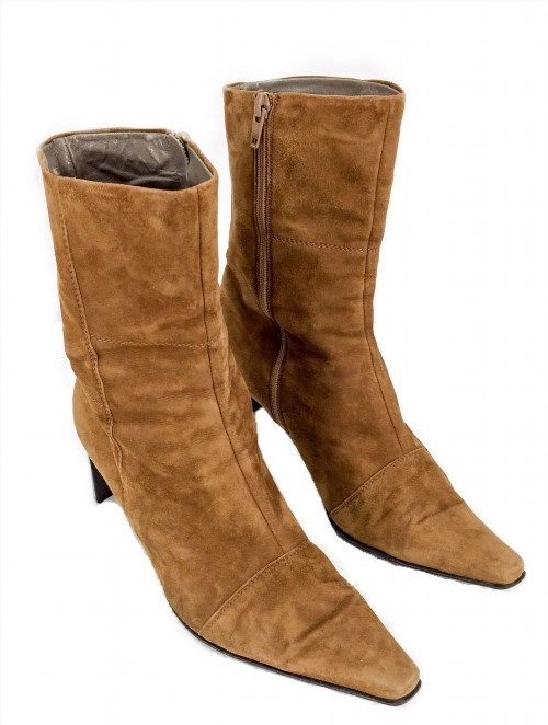 44.99$  Watch here - http://vivhh.justgood.pw/vig/item.php?t=8w06fc28259 - Peter Kaiser Women's Brown Tan Suede Ankle Zip Up Cuban Boots 8.5 44.99$