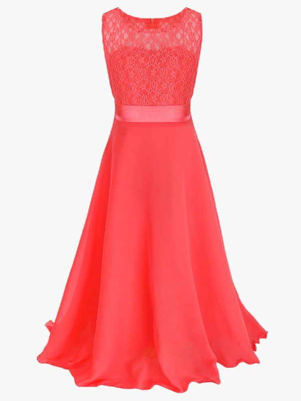 Lace Bowknot Embellished Sleeveless Maxi Prom Dress 11.19 USD
