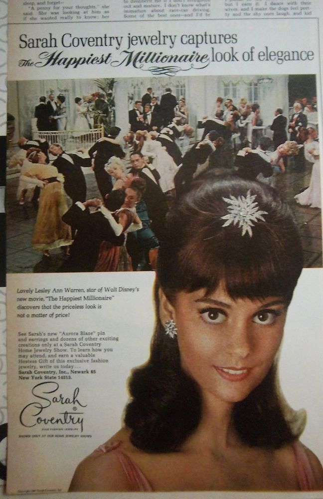 1967 Vintage Sarah Coventry Happiest Millionaire Jewelry Leslie Ann Warren Ad #SarahCoventry