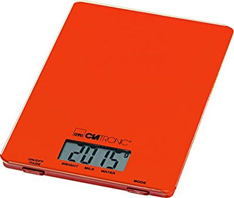 Clatronic Electronic Kitchen Scale, Stainless Steel, Orange