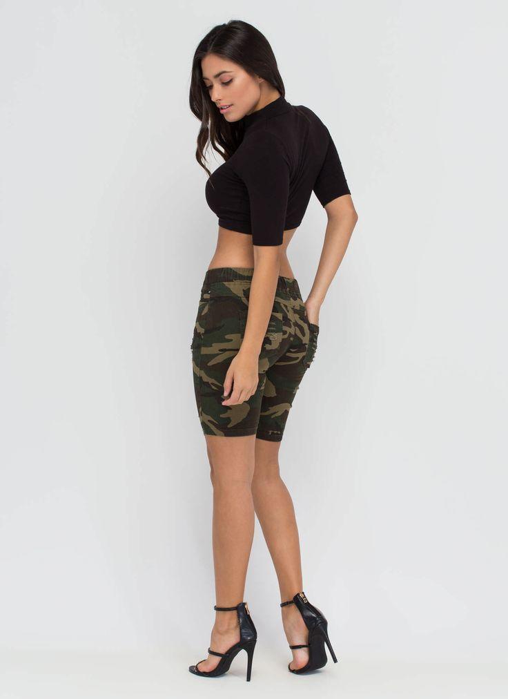 Camo Creation Long Denim Shorts GoJane.com