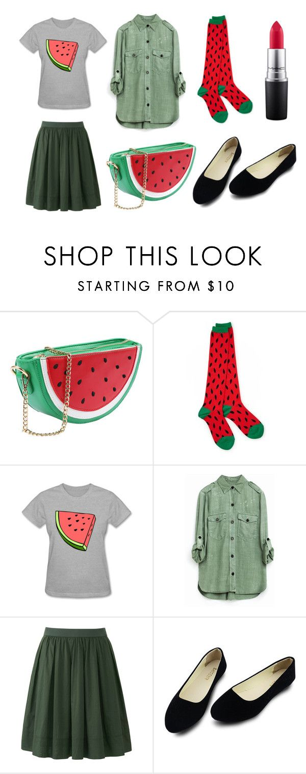 """""""water melon yeay"""" by ferranong on Polyvore featuring Socksmith Design, Uniqlo and MAC Cosmetics"""