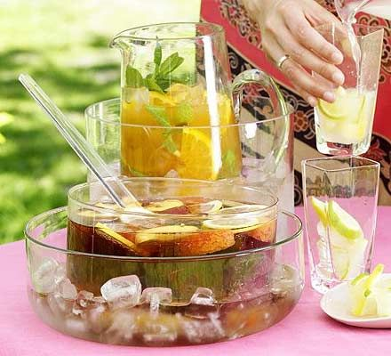 Citrus iced tea:  Ingredients  6 ordinary tea bags  2 tbsp caster sugar  10 sprigs mint  300ml fresh orange juice  juice 1 lime  1⁄2 sliced orange , mint leaves and ice to serve  1.Make the tea with 1.2 litres water and the sugar. Add mint to the pot and infuse for 10 mins. Strain and cool.  2.Pour into a jug, stir in the juices and serve with orange slices, mint and plenty of ice.