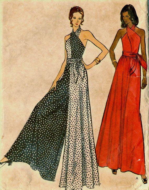 Vintage 70s Vogue 8445 Misses Criss Cross Halter Jumpsuit and Dress Sewing…