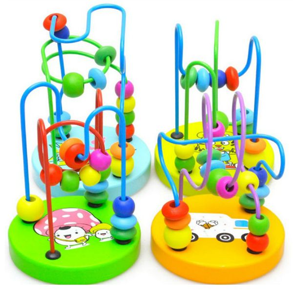 06a4830b9a382 Baby Wooden Toy Mini Around Beads Wire Maze Educational Game Bauble ...