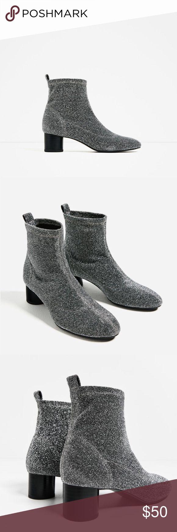 Zara Stretch shiny fabric high heel ankle boots Zara Stretch shiny fabric high heel ankle boots size 8. Zara size 39 Zara Shoes Ankle Boots & Booties