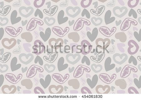 hand-drawn doodle seamless pattern with hearts. Can be used for graphic design, as well as prints for fabric. Raster versin