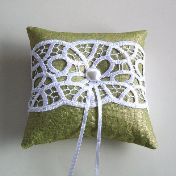 Weddings Ring Bearer Pillow, Baby Shower Pillow, Weddings Cushion, Pastel Green, Venetian Lace. Handmade on Etsy, $43.33 AUD
