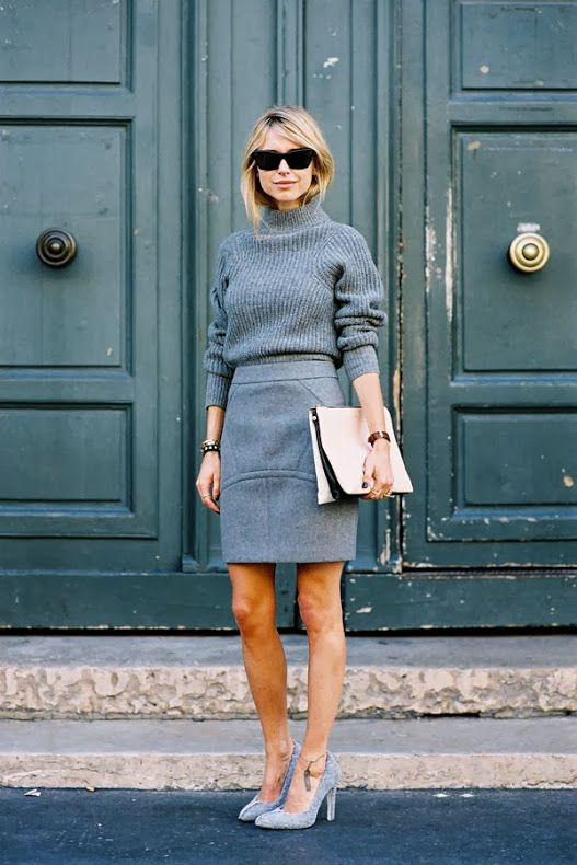 We're huge fans of monochromatic outfits, especially grey ones!