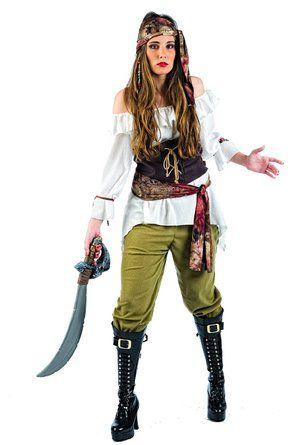 Costume de Pirate Complet pour Femmes 5 Pièces Blouse Corset Pantalon Écharpe Foulard - L