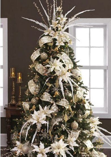 The Best DIY and Decor Place For You: Christmas tree with white poinsettia and beautifully garland