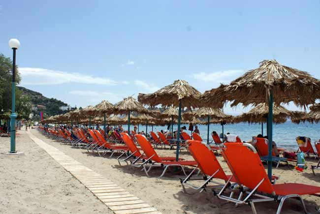 Sunbed & umbrella rental business on Psili Ammos beach in #Tolo, #Peloponnese - #Greece