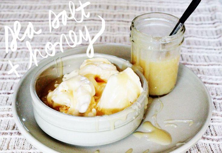 Sea salt & honey caramel sauce for summer sundaes (from A Beautiful Mess)
