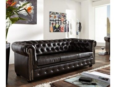 Chesterfield Bis: Pohovka 3M antique brown s puncy