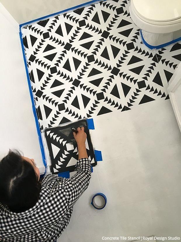How To Stencil Black White Bathroom Floor Tiles Diy Decor